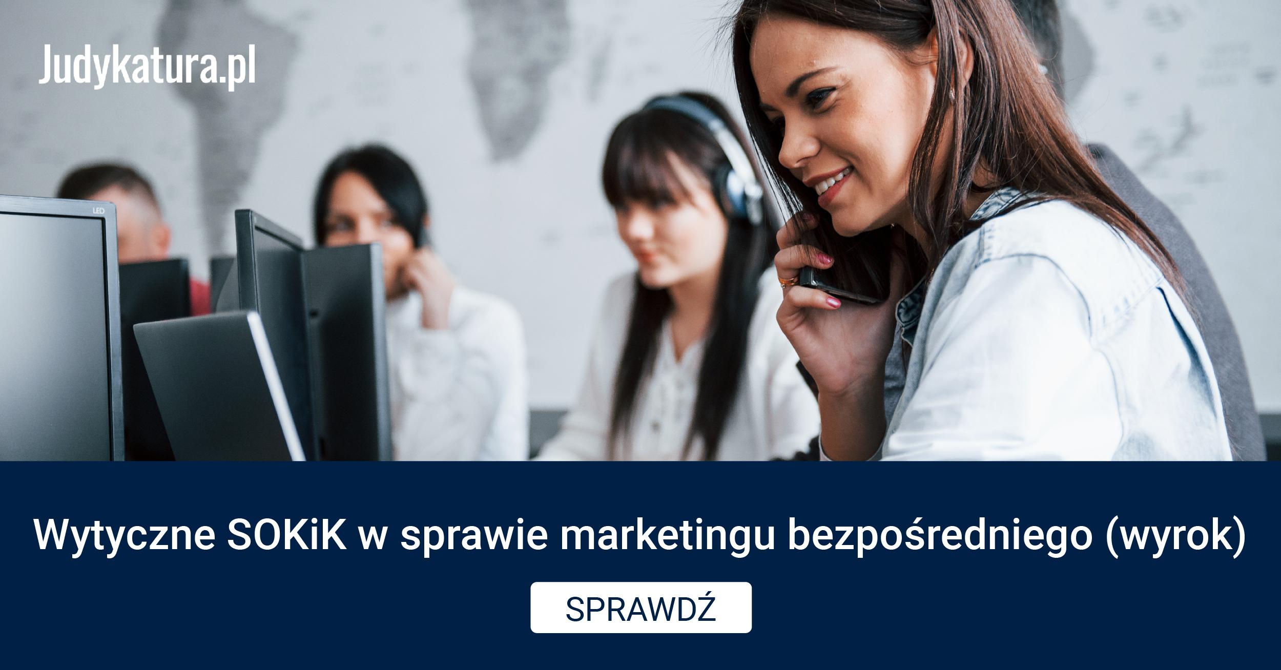 Wytyczne SOKiK wsprawie marketingu bezpośredniego (wyrok)